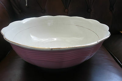 "Huge T. Furnival & Sons Bowl- Semi China England - Pink White Gold Trim 15"" Rare"