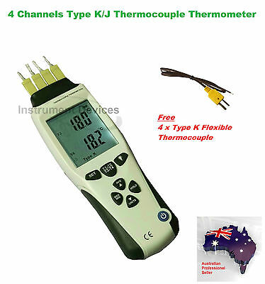 Professional 4 Channels Digital Type K J Thermocouple Thermometer Meter