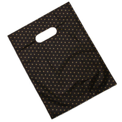 100pcs Star Patterns Printed Plastic Gift Carrier Bag Black Background Jewelry D