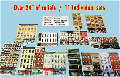 Z Scale Buildings - 11 Card Stock Background Scenery Kits with extra signs