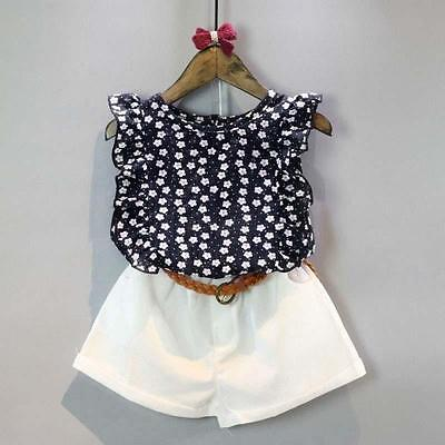 2PCS Cute Kids Baby Girls Summer Party T-shirt+Shorts Skirts Outfits Set Beauty