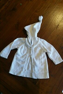 Pure baby white knitt hood jacket sz0 preowned very good cond Free postage D5