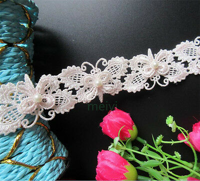 1 yd Vintage Butterfly Pearl Lace Edge Trim Wedding Ribbon Applique Sewing Craft