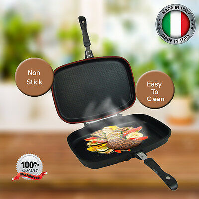 Double Sided Frying Pan Non Stick Griddle Die Cast Aluminium Smoke Grill