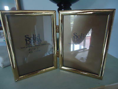 "vintage twin brass photo frame 3 & 1/2"" x 5"" inch 9 x 13cm"