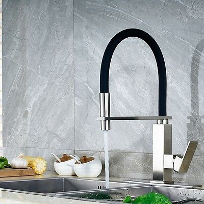"""Brushed Nickel Black Rubber Pull Down Kitchen Faucet Mixer Tap +10"""" Cover Plate"""