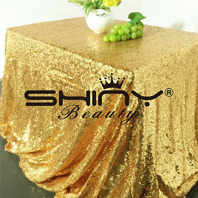 ShinyBeauty ST 60x102-Inch Rectangular Sequin Tablecloth-Gold