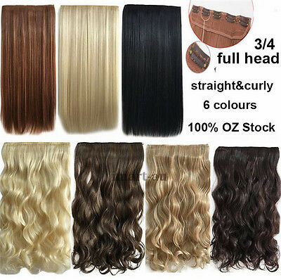 Clip On In Hair Extension 3/4 full head Synthetic long Hair  straight & curly