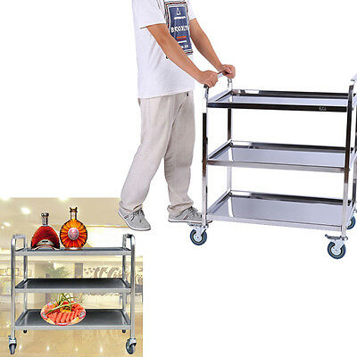 Stainless Catering Serving Trolley Hostess Food Restaurant Cart Dining Trolleys