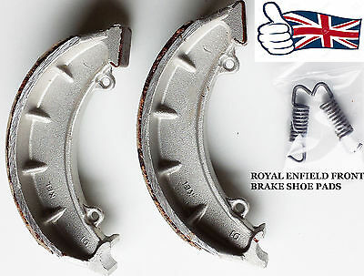 """Royal Enfield Bullet Front Brake Shoe Pair Pads 7"""" With Spring#143971"""