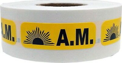 Yellow AM Medical Pharmacy Stickers, 0.5 x 1.5 Inches Wide, 500 Labels on a Roll