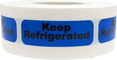 Blue Keep Refrigerated Stickers, 0.5 x 1.5 Inches Wide, 500 Labels on a Roll