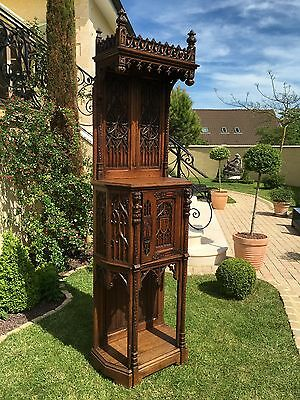 Antique French Gothic Cabinet Tall Narrow Model Solid Oak Carved Nicely Carved