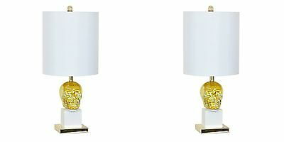 "Two New Stunning 27"" Skull Table Lamp Large Silk Shade Gold Mecury & White Light"