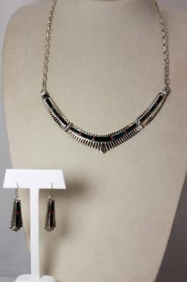 Jay Boyd Native American Sterling Inlaid Stone Necklace & Earrings Set - 4454