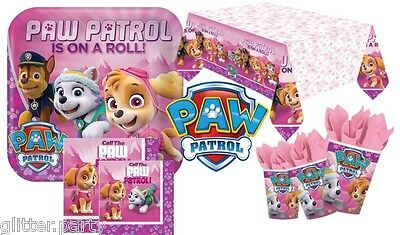 Paw Patrol Girls Party Complete Kits 8 / 48 Guests Tableware Plates Cups Napkins