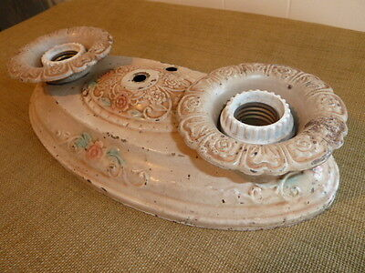Vintage Antique Victorian Flowers Metal Light Fixture Shabby Chic Candle Holder