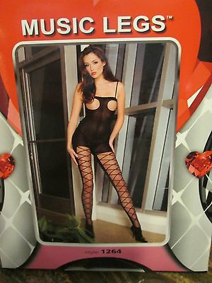 Music Legs Opaque Open Bust Bodystocking W/ Diamond Design Legs One Size Black
