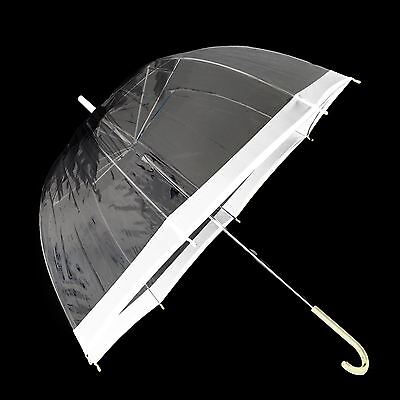 Wedding Ladies Clear Dome See Through Umbrella Handle Trnsparent Walking Brolly