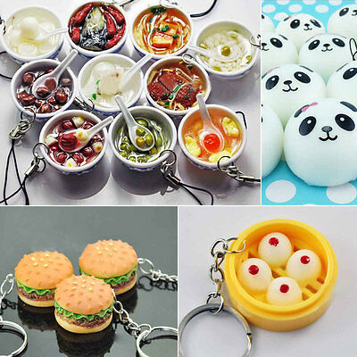 Cute Panda Squishy Kawaii Buns Bread Charms Cell Phone Straps Keyring Keychain