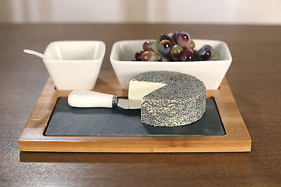 Cheese & Dip Platter Set of 5 Pieces Dinner Party Serverware Bamboo and Slate