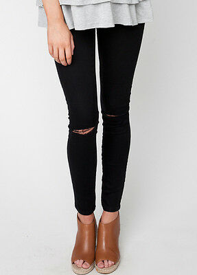 NEW - Ripe Maternity - Distressed Maternity Black Jeggings