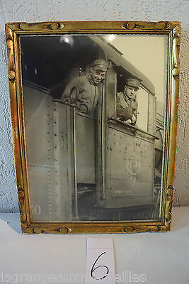 C6 Authentique photo militaire sous cadre train war ww1 ww2