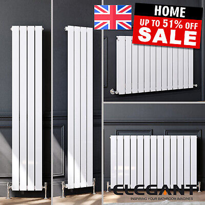 White Vertical Horizontal Flat Column Panel Designer Radiator Tall Upright