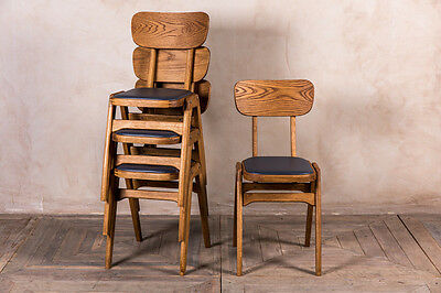 Ben Style Vintage Look Oak Stackable Cafe Chair With Grey Upholstered Seat Pad