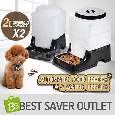 2 x Pet Feeder Waterer Dog Cat Automatic Food Water Bowl Set Self Feeding 2L BK