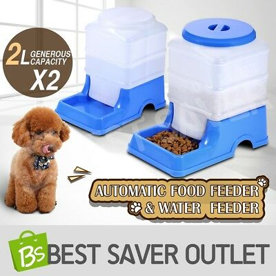 2 x Pet Feeder Waterer Set Automatic Dog Cat Self Feeding Food Water Bowl Blue