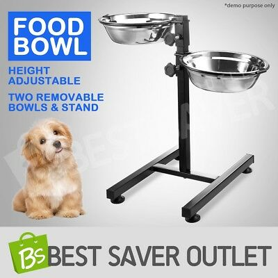 Pet Cat Dog Bowl Food Water Dish Two Removable Bowls Height Adjustable Stand