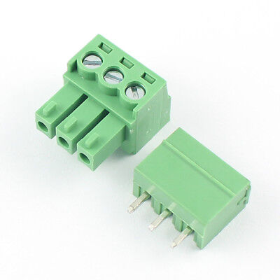 20Pcs 3.81mm Pitch 3 Pin Straight Screw Terminal Block Pluggable Plug Connector