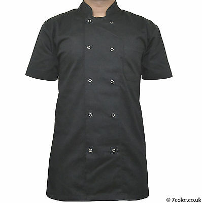 Chef Apparel Unisex Short Sleeve Black Chef Jacket with Visible Button.