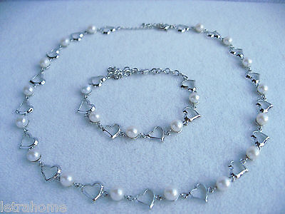 8mm Real White Freshwater Pearl Linked Hearts Necklace Bracelet Sets Present