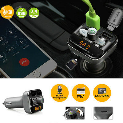 Car Bluetooth Kit Wireless FM Transmitter Dual USB Charger Audio SD MP3 Player