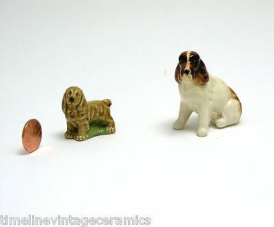 Two Spaniel Figurine Ornaments 1 x Wade Whimsie I Unnamed Liver and White Spniel