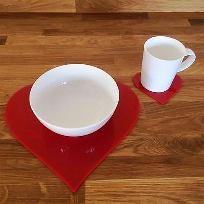 Red Heart Shaped Placemat and Coaster Set
