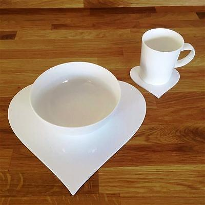 White Heart Shaped Placemat and Coaster Set