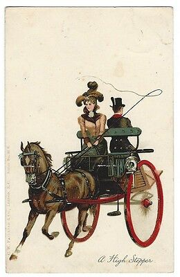 A HIGH STEPPER Edwardian Lady, Horse & Carriage, Postally Used Postcard 1904