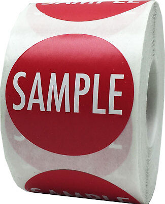 """Red with White """"SAMPLE"""" Stickers 