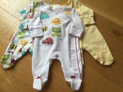Next Baby Girls 0-1 Month Sleepsuits BNWT - Next Girls Up To 1 Month Babygrows