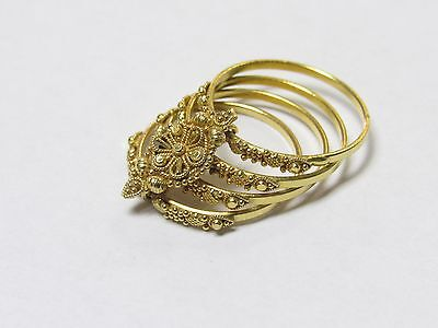 22k Yellow Gold Multiple Rings Stacked Indian Jewelry Sz. 7.25