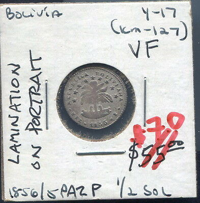 "Bolivia - Beautiful Historical Unholed ""laminated"" Silver 1/2 Sol, 1856/5Paz P"