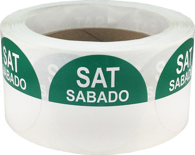 """Removable Food Rotation Labels - 2"""" Round for Saturday/Sabado - 500 Total Labels"""