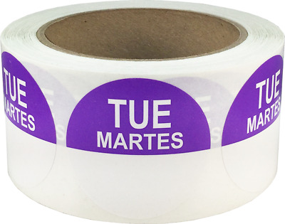 "Removable Food Rotation Labels - 2"" Round for Tuesday/Martes - 500 Total Labels"