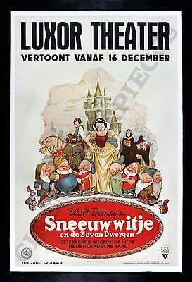 SNOW WHITE AND THE SEVEN 7 DWARFS * CineMasterpieces 1937 MOVIE POSTER DISNEY