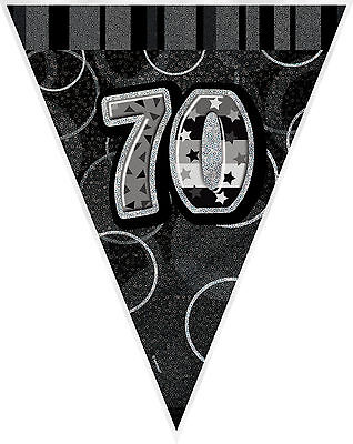 70th BIRTHDAY FLAG BANNER BLACK SILVER HOLOGRAPHIC PARTY SUPPLIES 36MTRS 12ft
