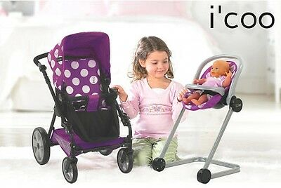 Doll Stroller and High Chair Playset Icoo Grow With Me Baby Mommy Pretend Play