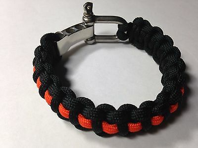 Thin Orange Line 550 Paracord Survival Bracelet Shackle Search & Rescue/Recovery